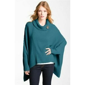 Halogen Ribbed Knit Sweater Poncho